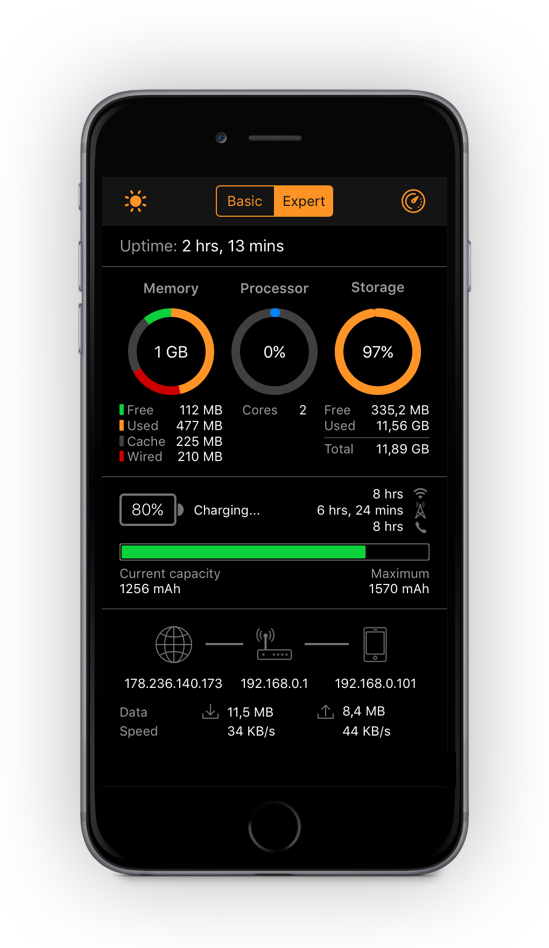iStatistica system monitor for iOS
